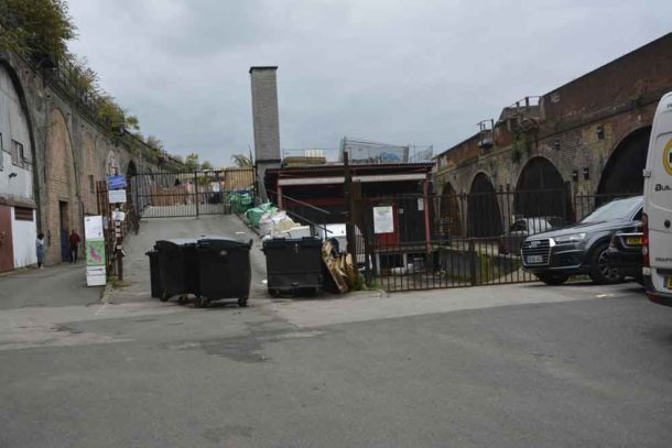 Valentia Place: The Bureau of Silly Ideas is in the arches on the left, the rear of Brixton Rooftop is in the centre