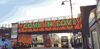 Wording for new design for Brixton Road Bridge - Come in Love