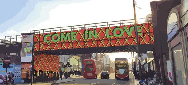 Wording for new design for Brixton Road Bridge - Come in Love