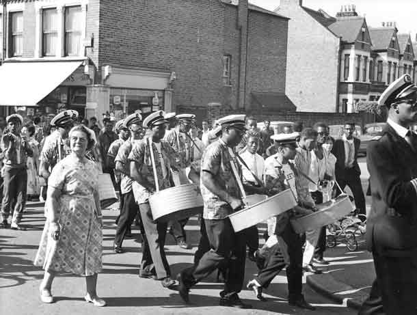 Steel pans band in south London in fifties