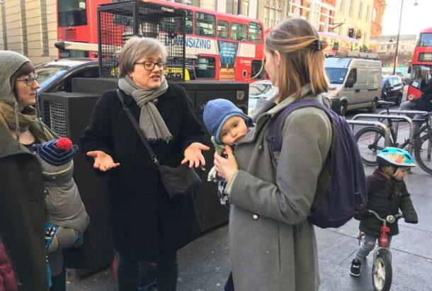 Green Assembly Member Caroline Russell with Mums for Lungs campaigners