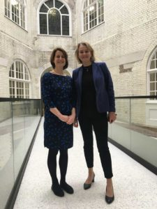 Helen Hayes MP and Cll leader Lib Peck at the opening of the new town hall