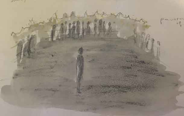 Drawing of the set of the play Tumulus
