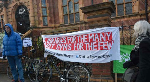 Banner: Libraries for the many not gyms for the few