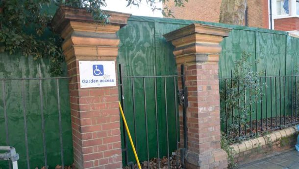 Boarded-up 'garden access' gate
