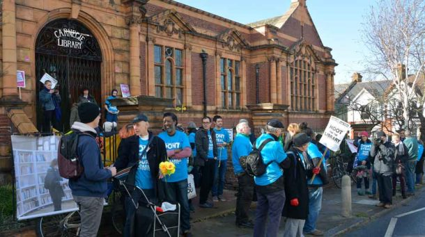 Protesters outside the Carnegie