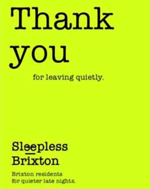 Sleepless Brixton flyer