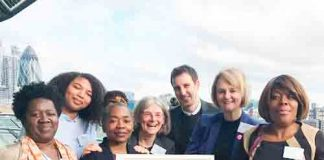 Lambeth council leader Lib Peck with campaign organisers