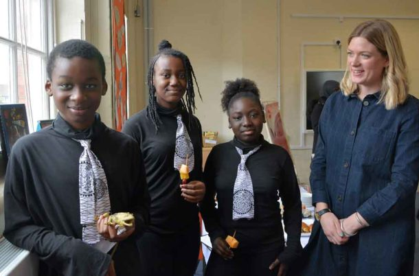 Teacher Matilda ffrench, who works with Hill Mead's young performers, including (left to right) Lamine, Kelisiann and Melissa