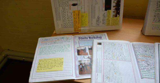§On display – workbooks from Hill Mead pupils studying Shakespeare's play Othello – a noted role for Sir Lenny Henry