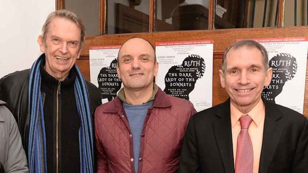Philip Hedley (former artistic director of Theatre Royal Stratford East), Eduardo Barreto (director of Ruth and The Dark Lady of the Sonnets), Murray Rosenthal (producer of Ruth and The Dark Lady of the Sonnets)