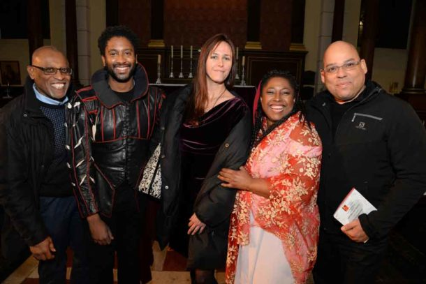 Tyrone Roach, Peter Braithwaite (bartitone), Ann Bancroft (guest), Alison Buchanan (artistic director, Pegasus Opera), Guy Hewitt (Barbados High Commissioner)