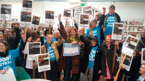 Defend the Ten campaigners inside the Carnegie library yesterday