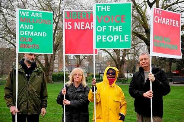 Community gardeners Peter Balzas, Christina Wheatley, Carole Wright and Vince Brown at a commemoration in April this year of the great Chartist rally