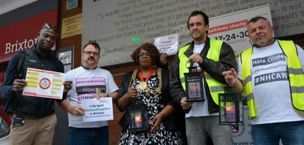 17-24-30 campaigners (l-r) Delroy Lawrence, Mark Healey, Jordi Ollier-Howard and Nick Maxwell with Lambeth mayor Marcia Cameron