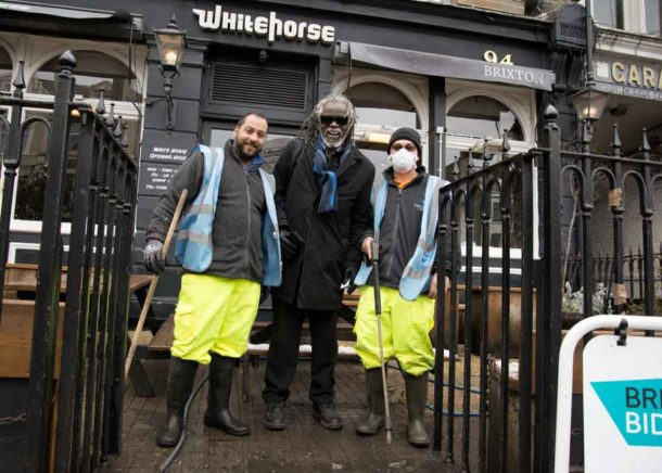 Michael Smith on Brixton Hill with the BID's Spring Blast cleaners
