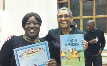 Rae Stoltenkamp (right) with Ruskin Readers member Tracey Cameron