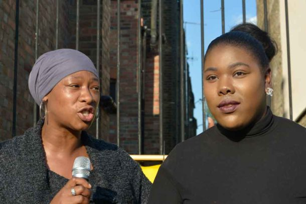 Cheryl (l) and Jamila explained their work to stop youth violence and appealed for help