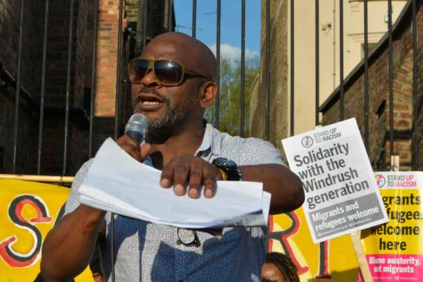 Michael Groce got the protesters to join him in performing a poem he had written the day before