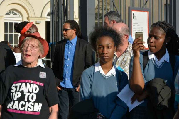 People at Windrush Square demonstration