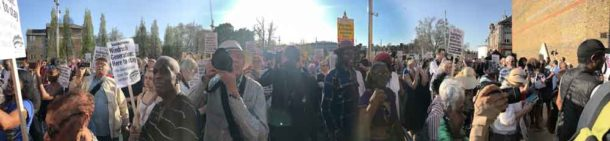 Crowd and Windrush Square demonstration