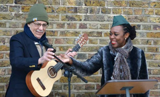 Alexander D Great and Nairobi Thompson at last year's Remembrance Day ceremony in Windrush Square