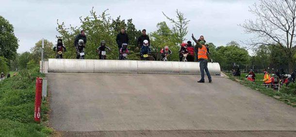 Start line-up at Brockwell Park BMX track