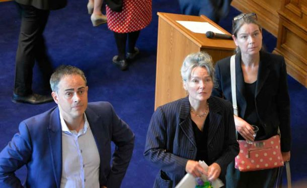 Green party councillors (l-r) Jonathan Bartley, Becca Thackray and Nicole Griffiths listen to SOSA members after their protests led to the council meeting being adjourned