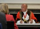 New mayor Christopher Wellbelove presides at the council meeting's new venue