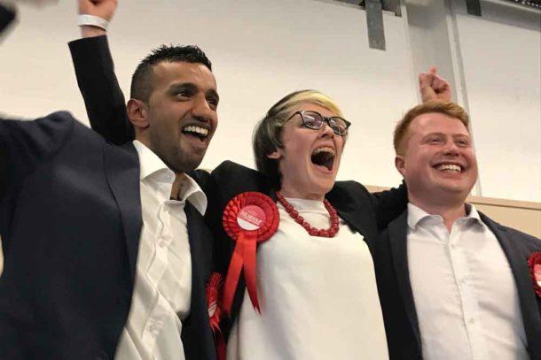 Ferndale ward winners (l-r) Irfan Mohammed (Lab), Jessica Leigh (Lab), Joshua Lindsey (Lab)