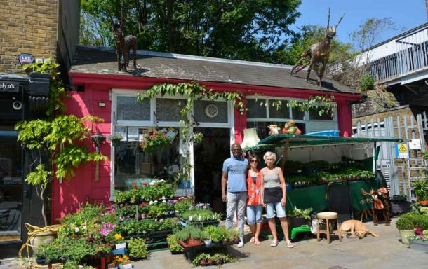 Elaine Partleton and friends from her shop The Flower Lady