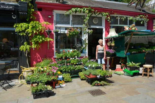 Elaine Partleton and her florists Flower Lady next to Herne Hill station