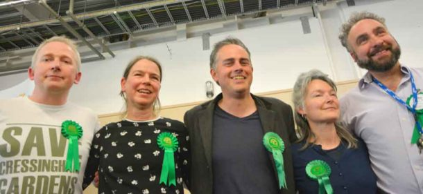 Lambeth council's five Green councillors (l-r) Pete Elliott (Gipsy Hill), Nicole Griffiths (St Leonard's), Jonathan Bartley (St Leonard's), Becca Thackray (Herne Hill), Scott Ainslie (St Leonard's)