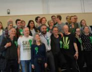 Greens celebrate at the poll count