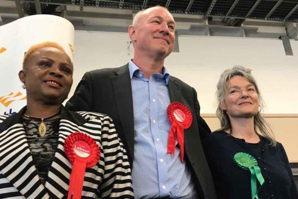 Herne Hill ward winners (l-r) Pauline George (Lab), Jim Dickson (Lab), Becca Thackray (Green)