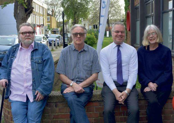 At the Lambeth Democracy launch (l-r) Andy Plant, Save Cressingham Gardens; Steve Freeman, Lambeth Democracy; Simon Morrow, Lambeth People's Audit; LauraSwaffield, Defend the Ten