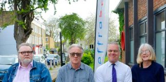 At the Lambeth Democracy launch (l-r) Andy Plant, Save Cressingham Gardens; Steve Freeman, Lambeth Democracy; Simon Morrow, Lambeth People's Audit; Laura Swaffield, Defend the Ten