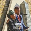 Nairobi Thompson and Jak Beula at the African Caribbean war memorial in Windrush Square
