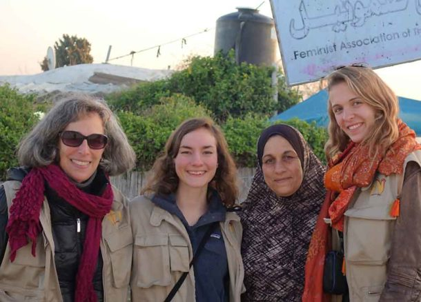 Alioce Crawford with her team and one of the women they worked with in the village of Nabi Samwel