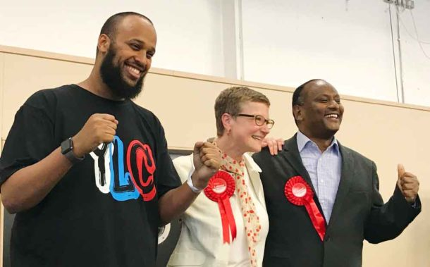Dr Mahamed Hashi (left) celebrates at the count with fellow newly elected Stockwell Labour councillors Lucy Woodruff and Mohamed Jaser
