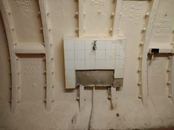 A toilet in the subterranean shelter