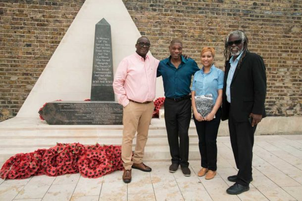 Stafford Geoghagen (left) and his wife Rose with Brixton BID director Michael Smith (right) and Nubian Jak