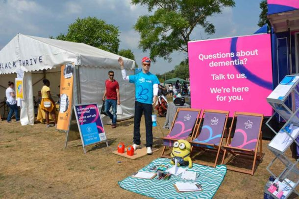 Attention grabbing stand from the Alzheimers Society