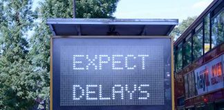 Brixton Hill traffic sign: Expect delays