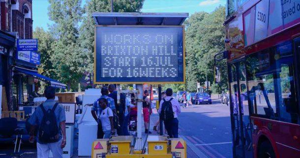 Brixton Hill traffic works sign