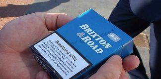 Packet of Brixton Road cigarettes