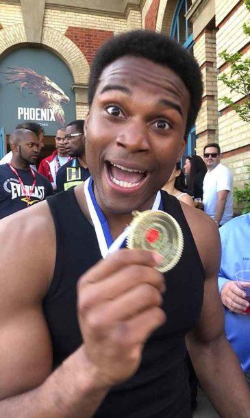 Kheron Gilpin with his gold medal
