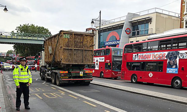 Brixton Road with lorry and police officer