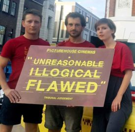 Sacked union reps (l-r)Tom McKain, Marc Cowan and Natalie Parsons outside the Ritzy in Brixton