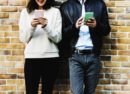 Couple dating on smartphones
